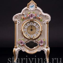 Фарфоровые часы Цветы, Дрезден, Германия, вт. пол. 20 в