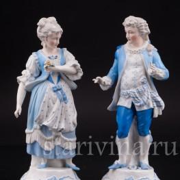 Уцененные фарфоровые Пара в голубых костюмах, Sitzendorf, Германия, 19 в.